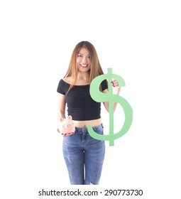 Woman holding a piggy bank and a dollar sign against a white background