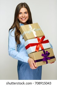 Woman holding pile gift box. Isolated portrait.