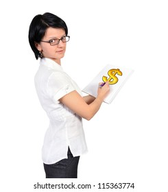 Woman holding a placard  dollar symbol