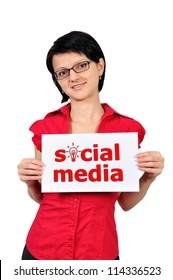 Woman holding a placard social media
