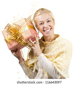 Woman holding a present  over a white background