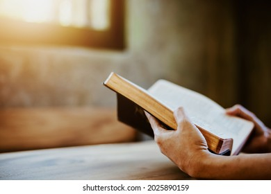 A woman holding and read book on wood table with window  light, crisis solution pray to God, Christian believe, trust and obey , morning devotional concept with copy space