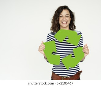 Woman Holding Recycling Sign Concept