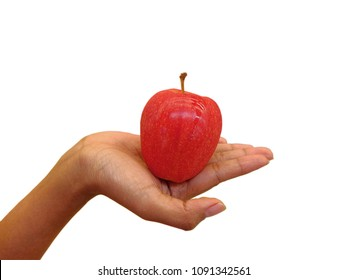 Woman holding red apple on white background.