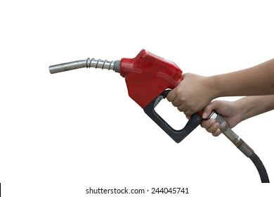 A woman holding a red gasoline nozzle on a white background.