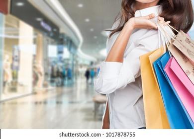 Woman holding shoping bag