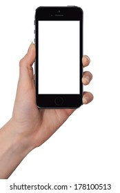 Woman holding smart phone similar to iphone with isolated screen in hand, isolated on white.