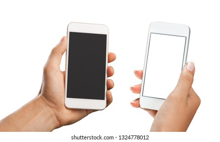 Woman holding smartphone with blank screen.            - Image