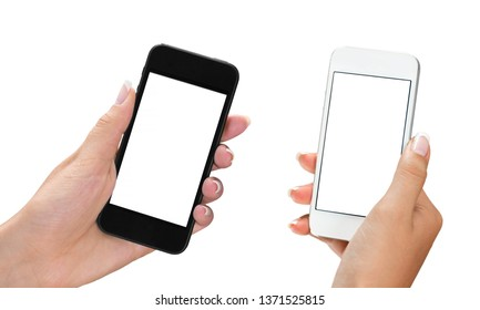Woman holding smartphone with blank screen.