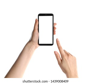 Woman holding smartphone with blank screen on white background, closeup of hands. Space for text