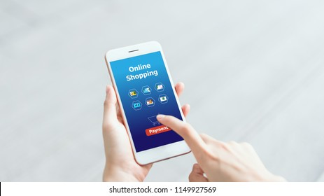 Woman holding smartphone to enter online payment from the store. Concept of providing marketing services on the internet for easy access to information.