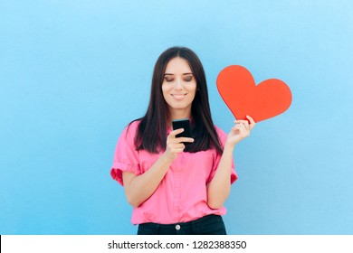 Woman Holding Smartphone Finding Internet Love Online. Girl using matrimonial website services on her phone
