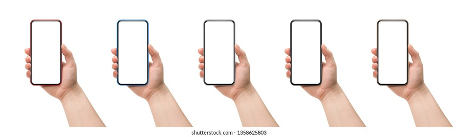 Woman holding smartphone isolated on white background.
