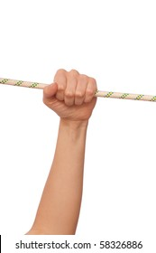 woman holding the string on gathering ones last strength to survive