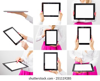 Woman holding tablet computer, collage of different photos