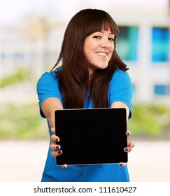 Woman Holding Tablet, Outdoor