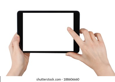 Woman Holding a Tablet PC and Clicking on It. Isolated on White Background