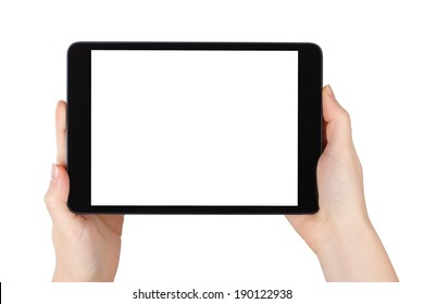 Woman Holding a Tablet PC isolated on White Background