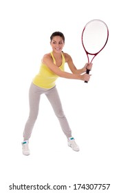 woman holding tennis racket, studio shot