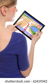 woman holding a touchpad pc, using the navigation programme, isolated on white