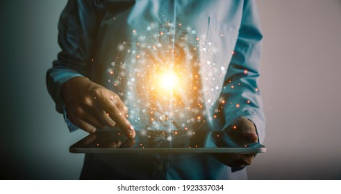 Woman holding and using digital tablet global network connection, communication and technology concept.