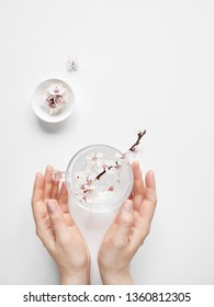 Woman holding white flowers in cup. Zen minimalistic composition on white background with free space for your text