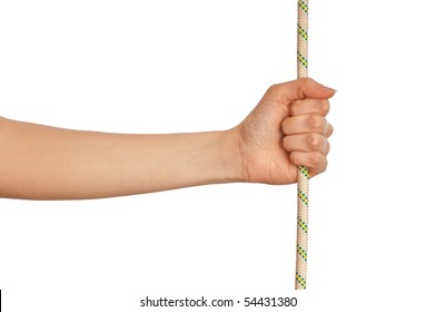 woman holding a white rope