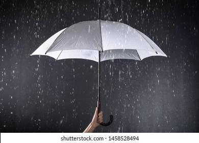 Woman holding white umbrella under rain on dark background, closeup