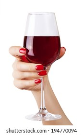 Woman holding a wine glass on white background.