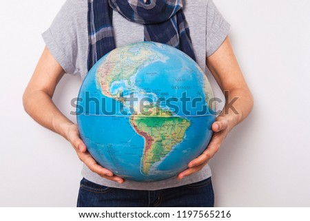 World Map On Hands.Woman Holding World Map Hands Stock Photo Edit Now 1197565216