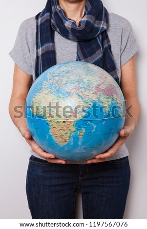 World Map On Hands.Woman Holding World Map Hands Stock Photo Edit Now 1197567076