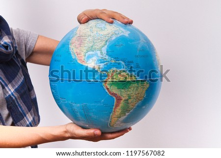 World Map On Hands.Woman Holding World Map Hands Stock Photo Edit Now 1197567082