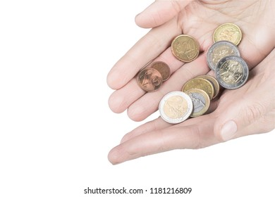 Woman holds euro coins in palms, isolated on white background