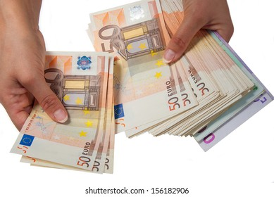 Woman holds in hands of the euro banknotes and apply them.