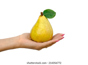 the woman holds a pear in hand