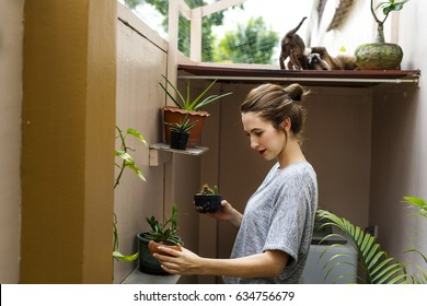 Woman Holiday Houseplant Gardener