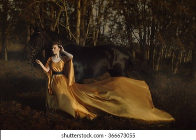 woman and horse in the field