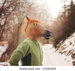 a woman in a horse head mask