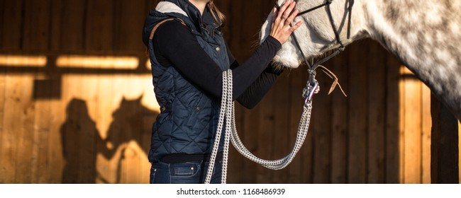 Woman with a horse in a stable