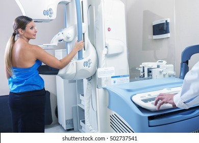 Woman in hospital for mammography scan.