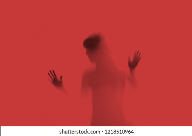 Woman hostage blurred abuse victim concept