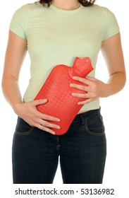 Woman with hot water bag as abdominal pain