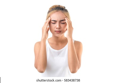 Woman with a huge headache,health care concept.