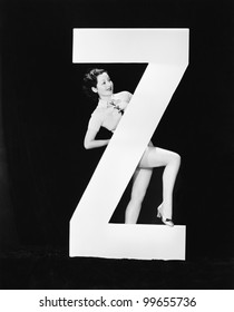 Woman with huge letter Z