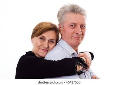 woman hugging a man on a white background
