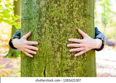 a woman hugging a tree