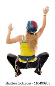 woman indoor free climbing