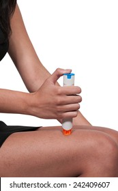 Woman injecting emergency medicine into her leg