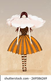 Woman inside a cloud wearing an umbrella skirt
