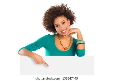 Woman Isolated Pointing On Billboard Over White Background
